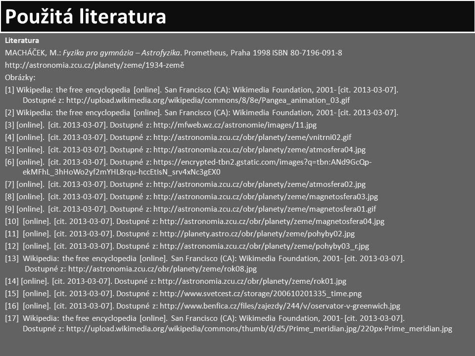 Použitá literatura Literatura