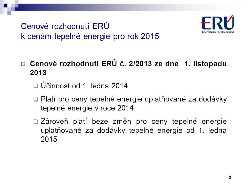 Cenové rozhodnutí ERÚ k cenám tepelné energie pro rok 2015