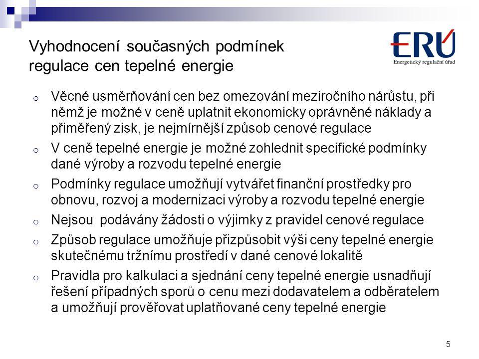 Vyhodnocení současných podmínek regulace cen tepelné energie