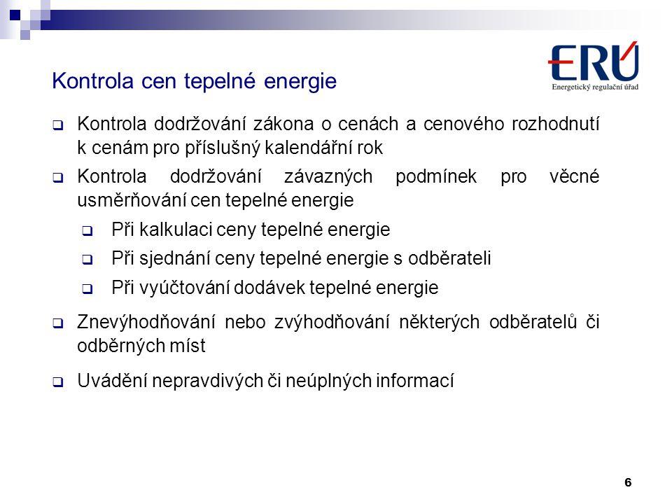 Kontrola cen tepelné energie