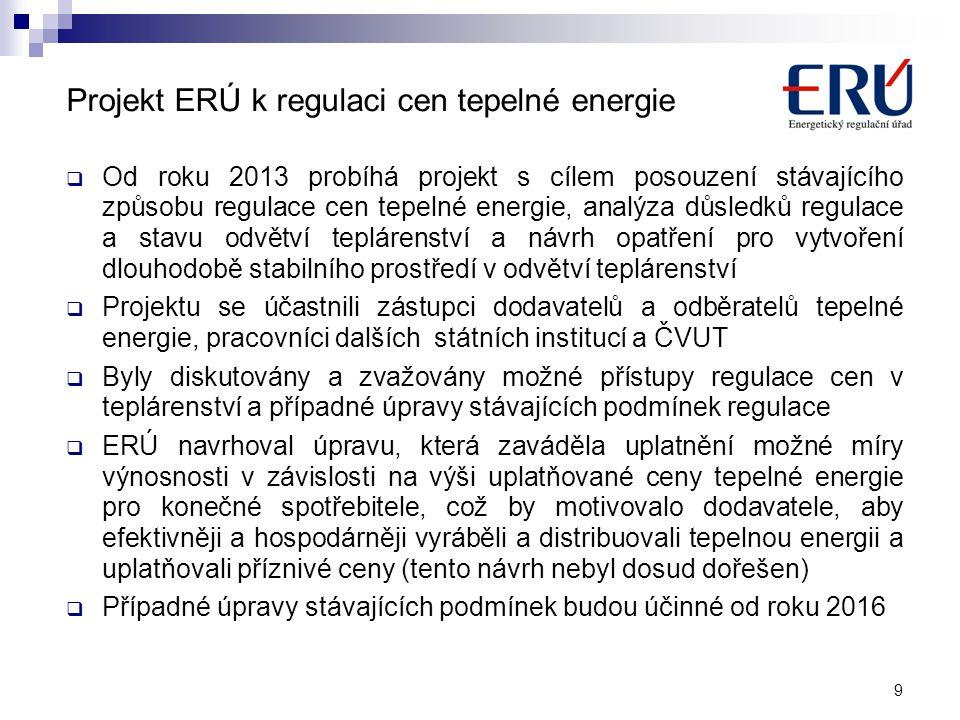 Projekt ERÚ k regulaci cen tepelné energie