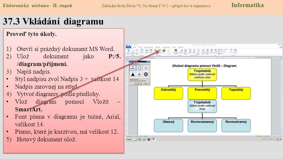37.3 Vkládání diagramu Proveď tyto úkoly.