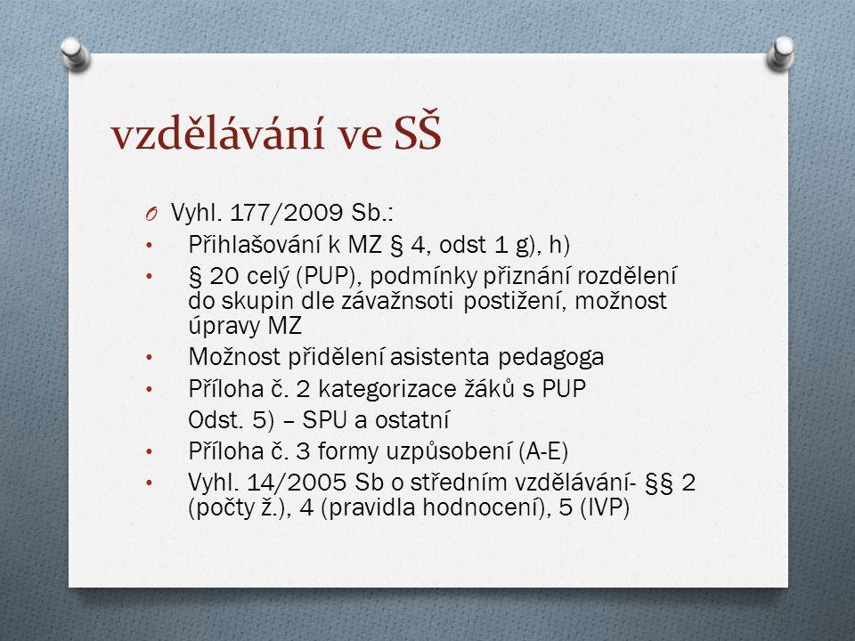 vzdělávání ve SŠ Vyhl. 177/2009 Sb.: