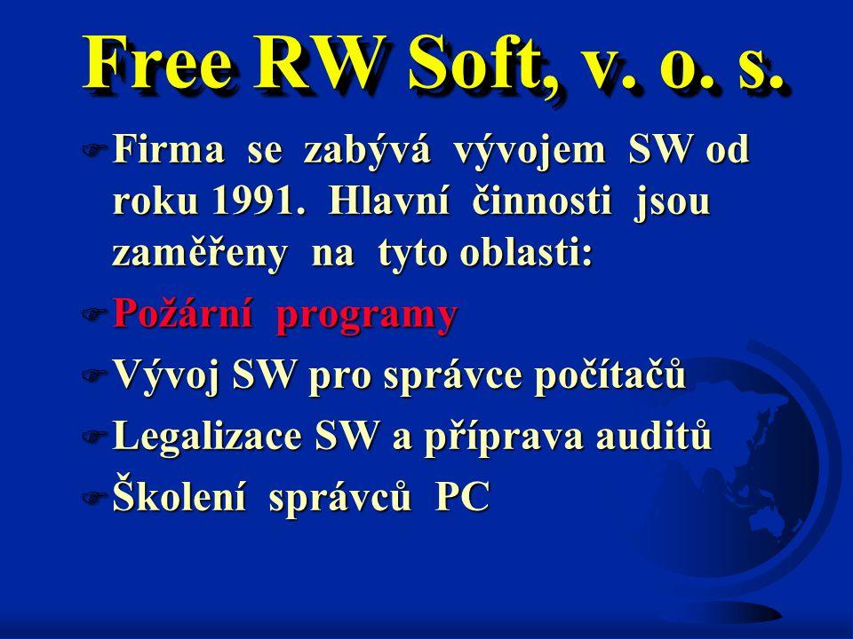 Free RW Soft, v. o. s. Firma se zabývá vývojem SW od roku 1991. Hlavní činnosti jsou zaměřeny na tyto oblasti: