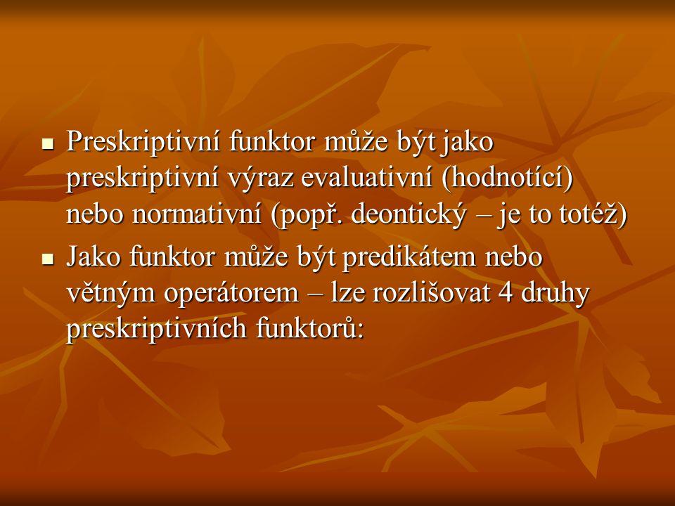 Preskriptivní funktor může být jako preskriptivní výraz evaluativní (hodnotící) nebo normativní (popř. deontický – je to totéž)