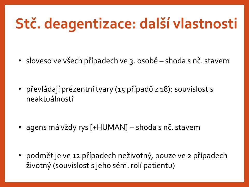 Stč. deagentizace: další vlastnosti