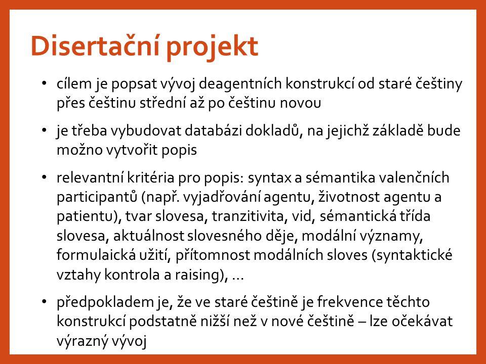 Disertační projekt cílem je popsat vývoj deagentních konstrukcí od staré češtiny přes češtinu střední až po češtinu novou.