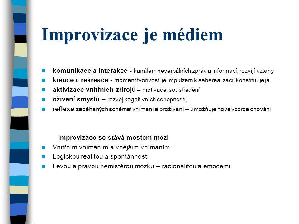 Improvizace je médiem komunikace a interakce - kanálem neverbálních zpráv a informací, rozvíjí vztahy.