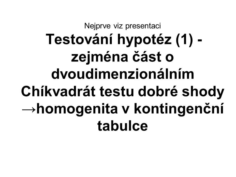 Nejprve viz presentaci Testování hypotéz (1) - zejména část o dvoudimenzionálním Chíkvadrát testu dobré shody →homogenita v kontingenční tabulce