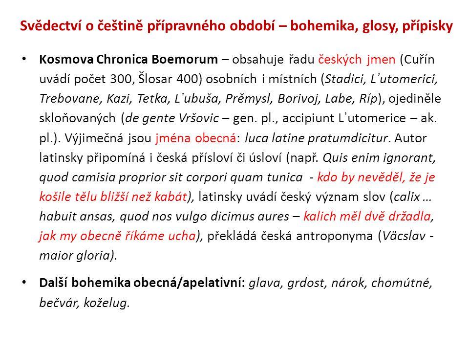 Svědectví o češtině přípravného období – bohemika, glosy, přípisky