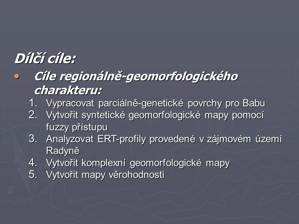 Dílčí cíle: Cíle regionálně-geomorfologického charakteru: