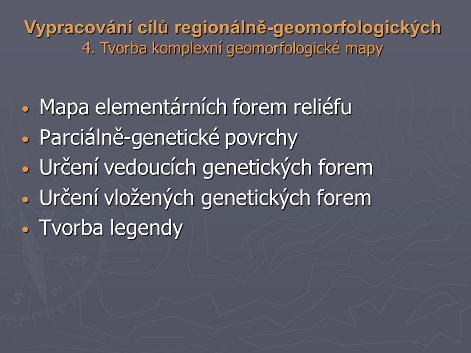 Mapa elementárních forem reliéfu Parciálně-genetické povrchy