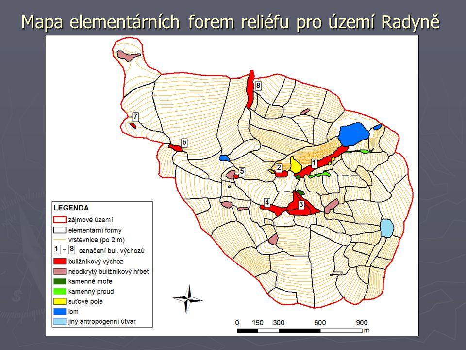 Mapa elementárních forem reliéfu pro území Radyně