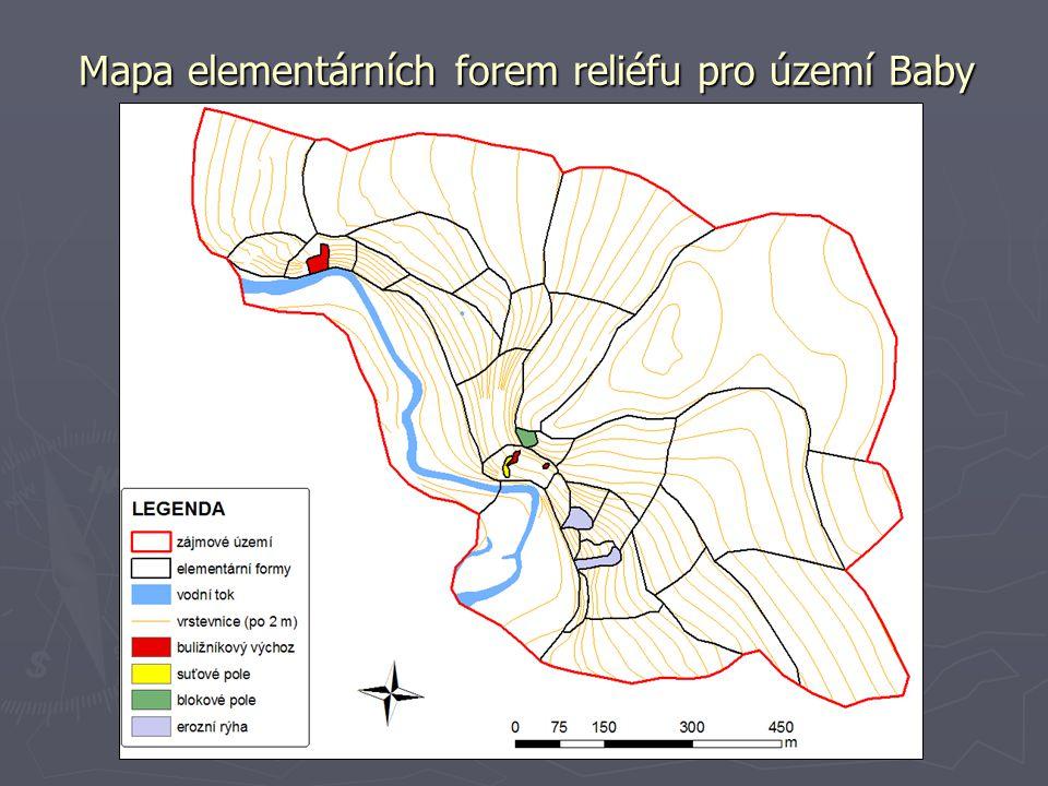 Mapa elementárních forem reliéfu pro území Baby