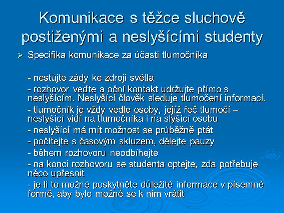Komunikace s těžce sluchově postiženými a neslyšícími studenty