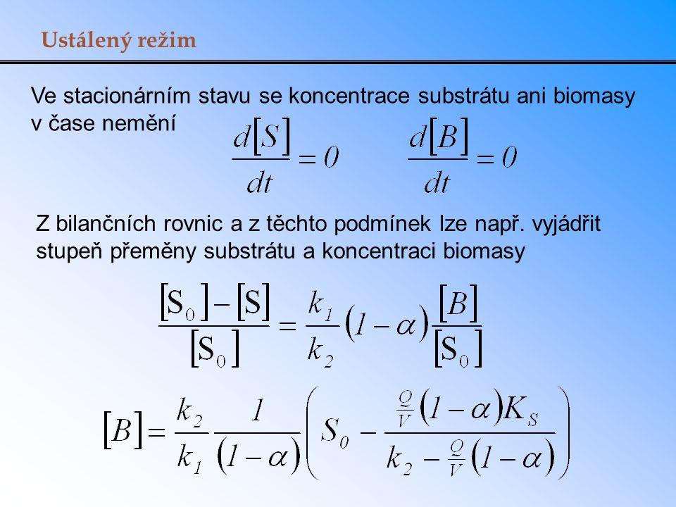 Ustálený režim Ve stacionárním stavu se koncentrace substrátu ani biomasy v čase nemění.