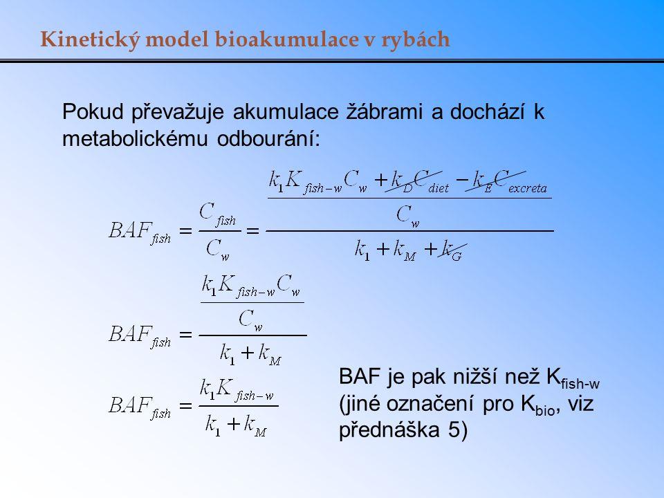 Kinetický model bioakumulace v rybách