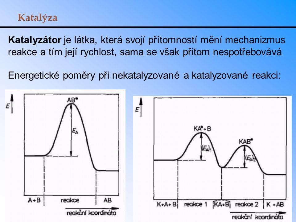 Katalýza Katalyzátor je látka, která svojí přítomností mění mechanizmus reakce a tím její rychlost, sama se však přitom nespotřebovává.