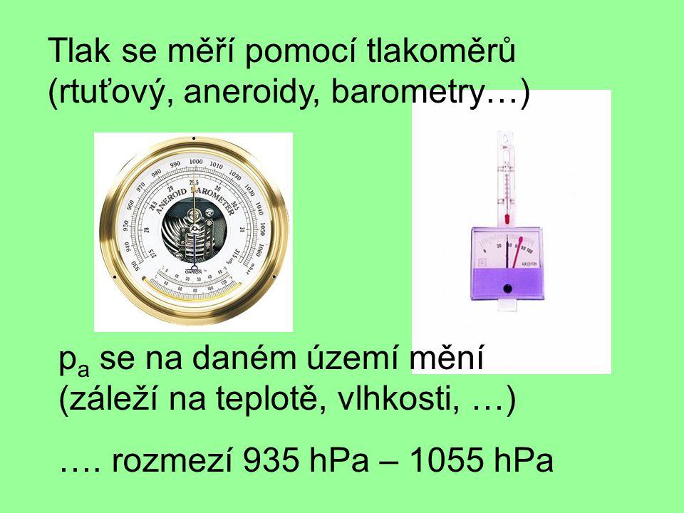 Tlak se měří pomocí tlakoměrů (rtuťový, aneroidy, barometry…)
