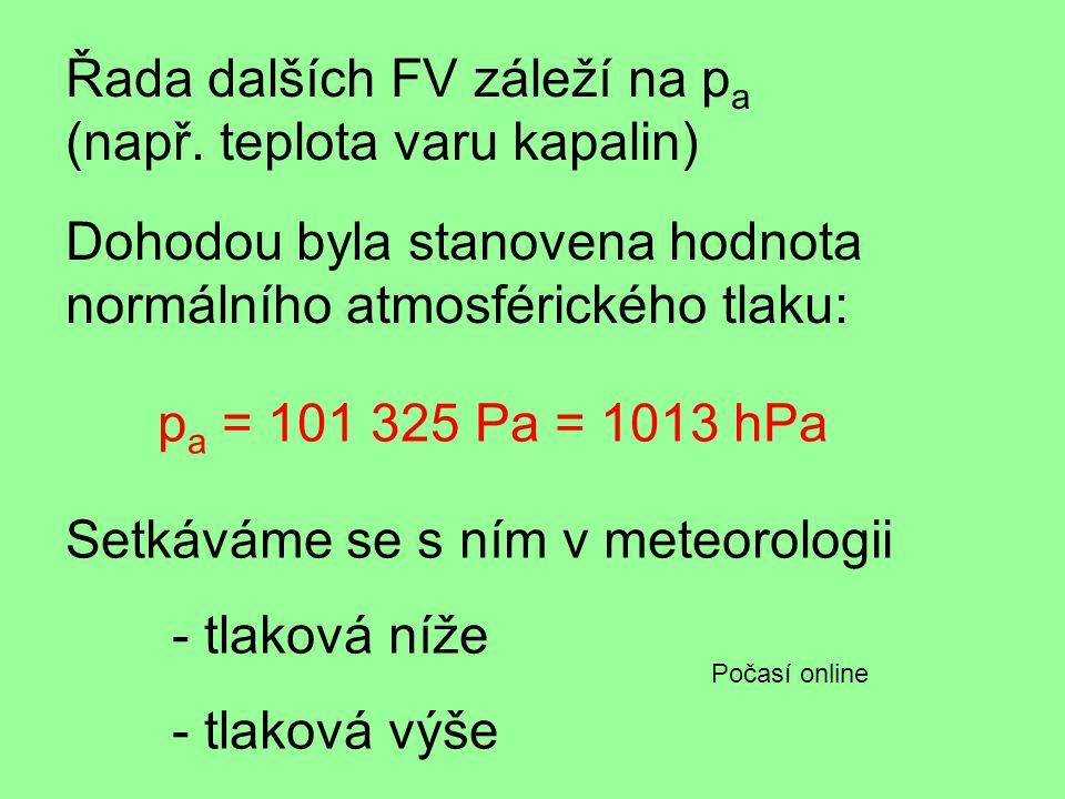 Řada dalších FV záleží na pa (např. teplota varu kapalin)