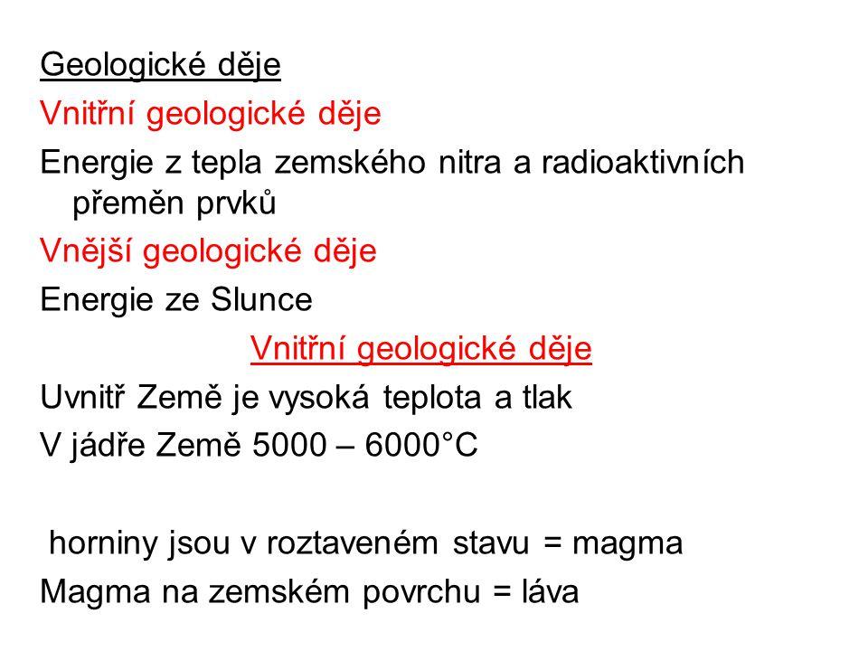 Geologické děje Vnitřní geologické děje. Energie z tepla zemského nitra a radioaktivních přeměn prvků.