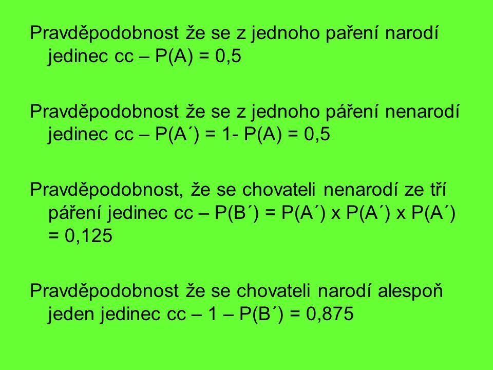 Pravděpodobnost že se z jednoho paření narodí jedinec cc – P(A) = 0,5
