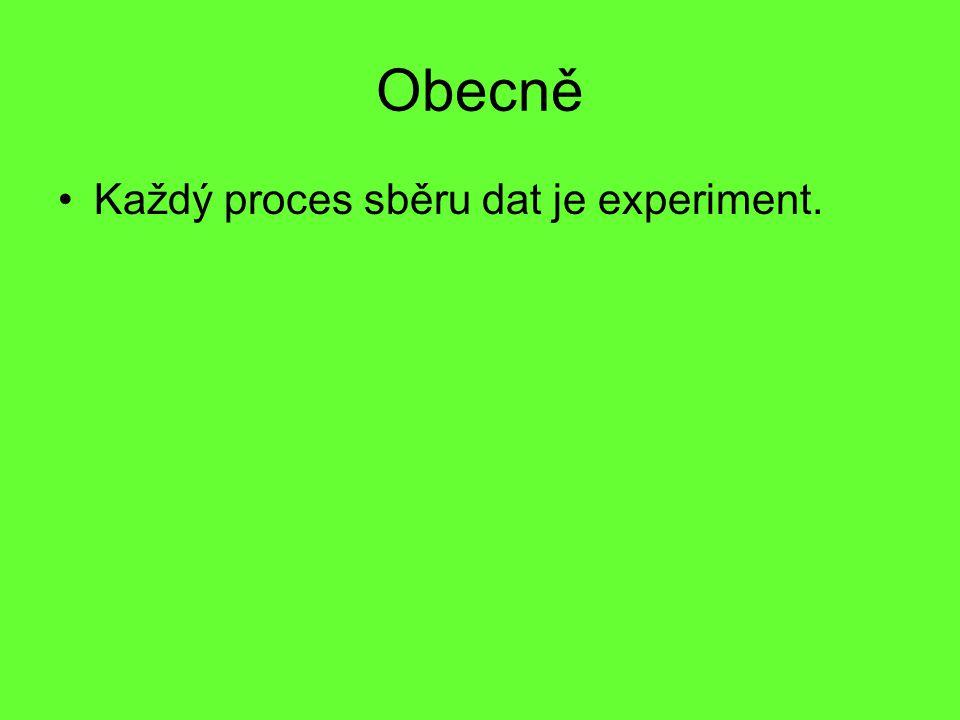 Obecně Každý proces sběru dat je experiment.