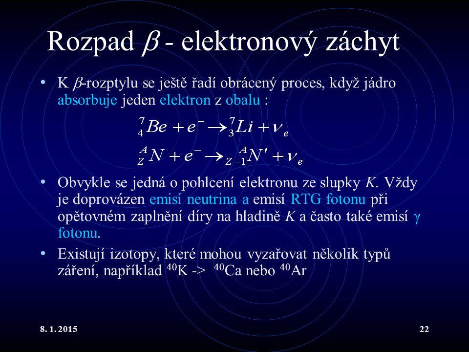 Rozpad  - elektronový záchyt