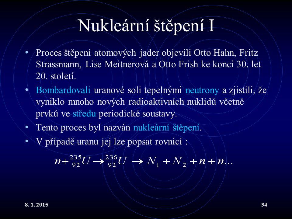 Nukleární štěpení I Proces štěpení atomových jader objevili Otto Hahn, Fritz Strassmann, Lise Meitnerová a Otto Frish ke konci 30. let 20. století.