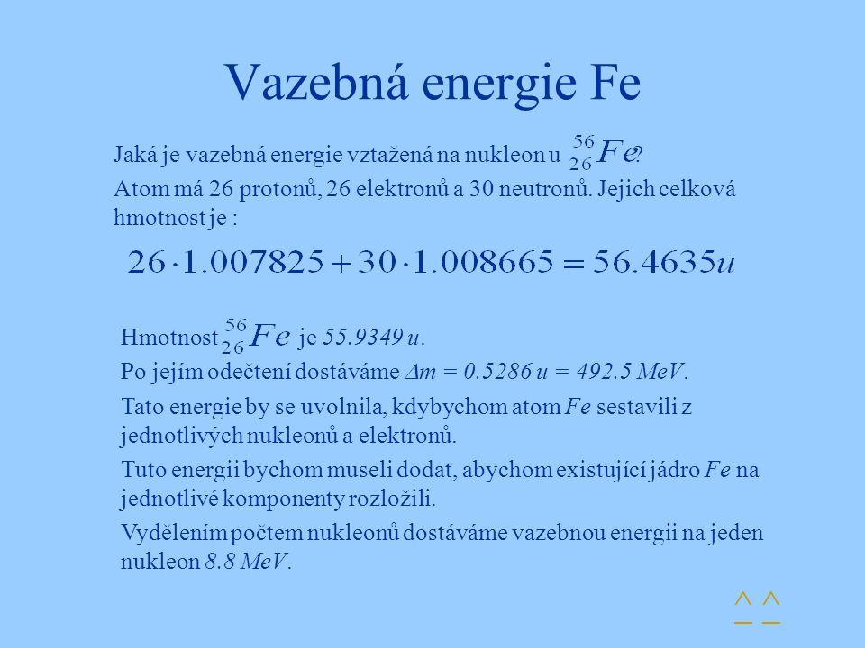 Vazebná energie Fe ^ ^ Jaká je vazebná energie vztažená na nukleon u