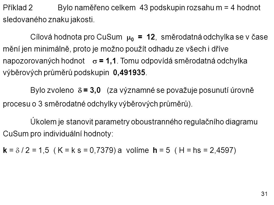 Příklad 2 Bylo naměřeno celkem 43 podskupin rozsahu m = 4 hodnot sledovaného znaku jakosti.