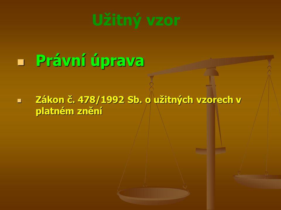 Právní úprava Zákon č. 478/1992 Sb. o užitných vzorech v platném znění
