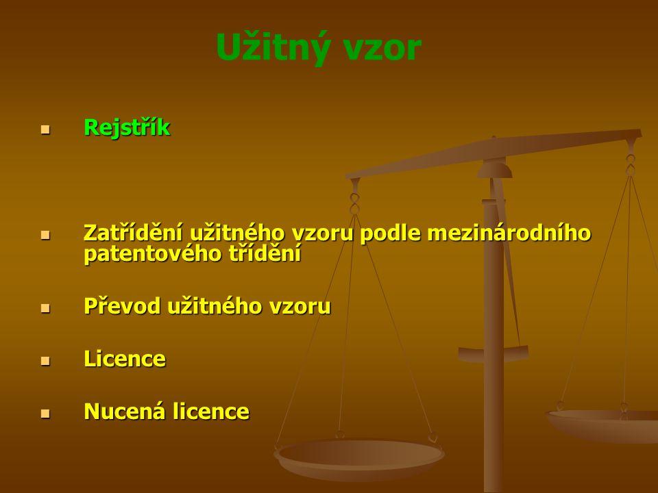 Rejstřík Zatřídění užitného vzoru podle mezinárodního patentového třídění. Převod užitného vzoru. Licence.