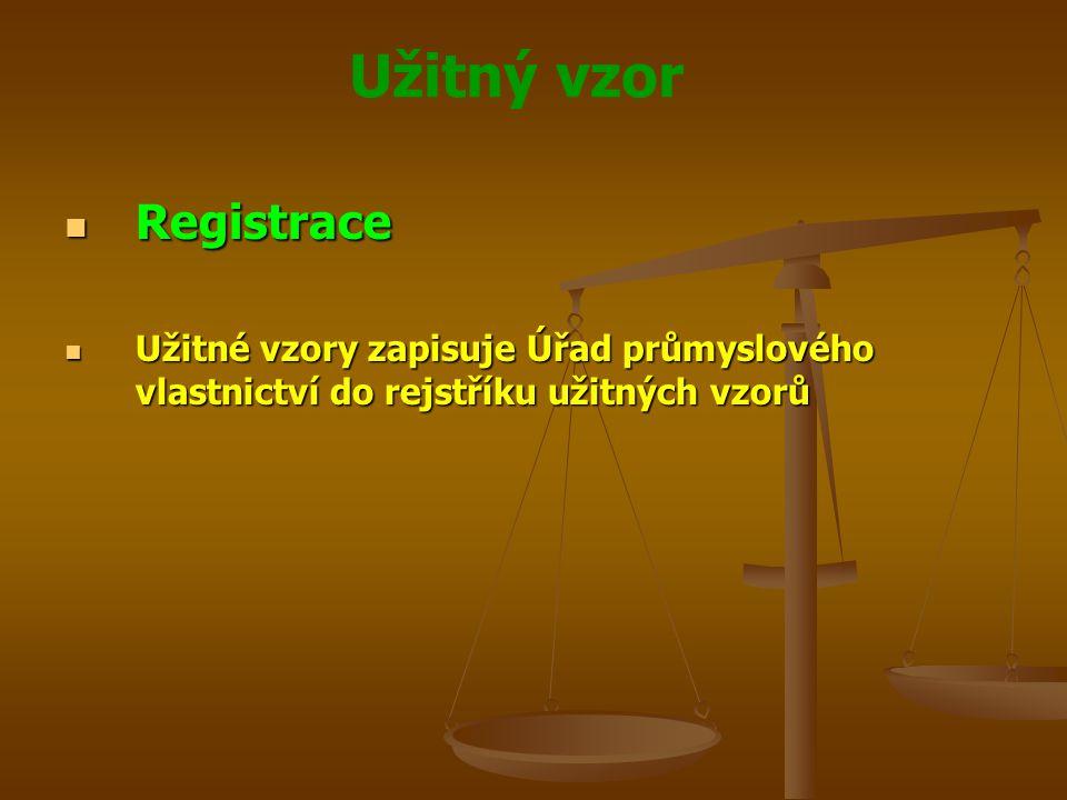 Registrace Užitné vzory zapisuje Úřad průmyslového vlastnictví do rejstříku užitných vzorů