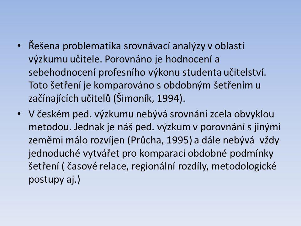 Řešena problematika srovnávací analýzy v oblasti výzkumu učitele