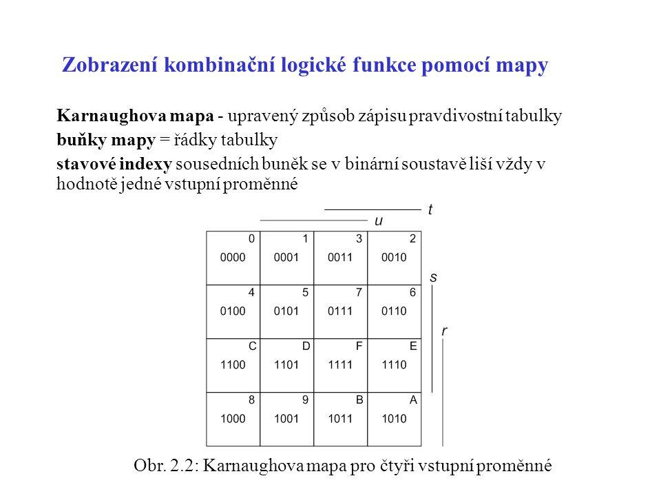 Zobrazení kombinační logické funkce pomocí mapy