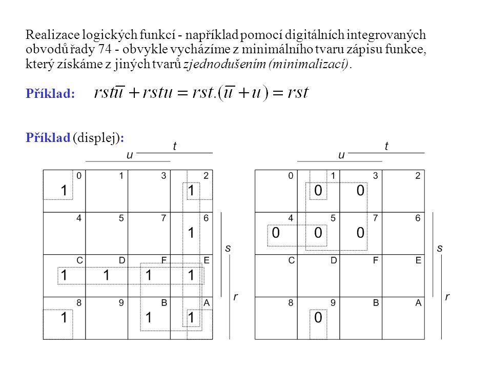 Realizace logických funkcí - například pomocí digitálních integrovaných obvodů řady 74 - obvykle vycházíme z minimálního tvaru zápisu funkce, který získáme z jiných tvarů zjednodušením (minimalizací).