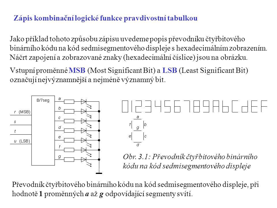 Zápis kombinační logické funkce pravdivostní tabulkou