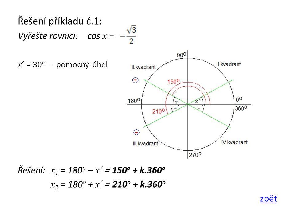 Řešení příkladu č.1: Vyřešte rovnici: cos x =