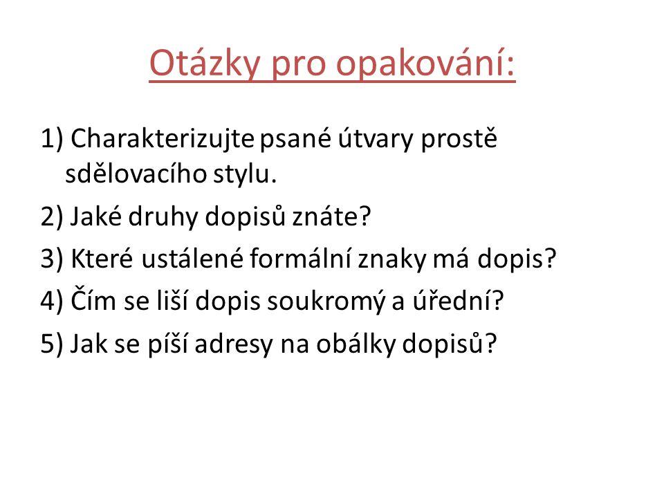 Otázky pro opakování: