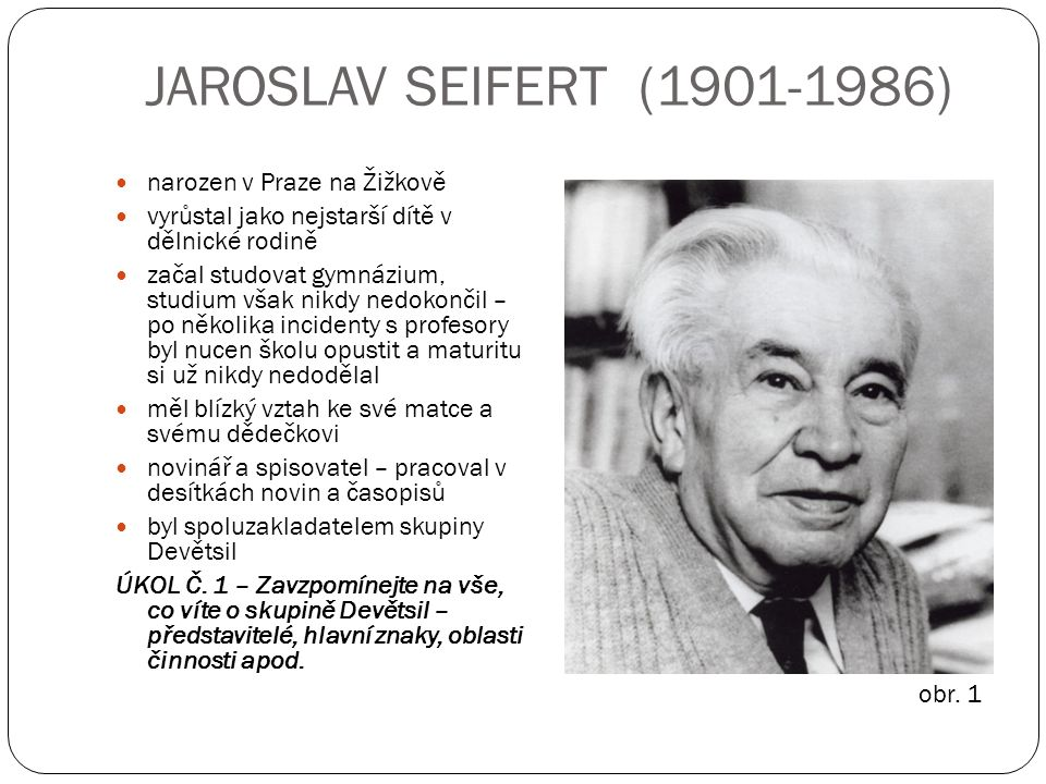 JAROSLAV SEIFERT (1901-1986) narozen v Praze na Žižkově