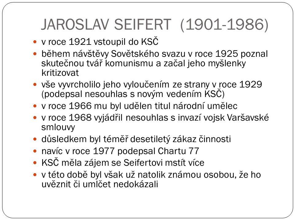 JAROSLAV SEIFERT (1901-1986) v roce 1921 vstoupil do KSČ