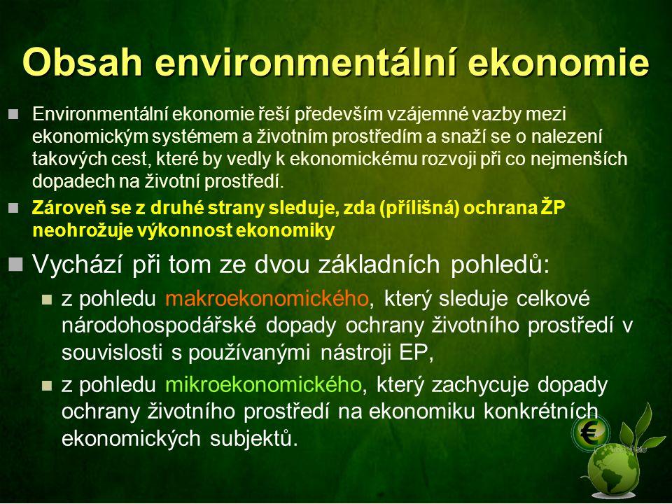 Obsah environmentální ekonomie
