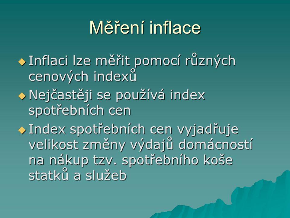 Měření inflace Inflaci lze měřit pomocí různých cenových indexů