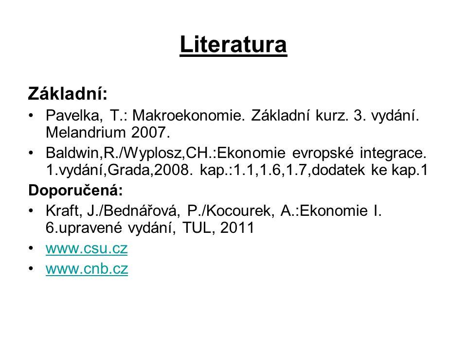 Literatura Základní: Pavelka, T.: Makroekonomie. Základní kurz. 3. vydání. Melandrium 2007.