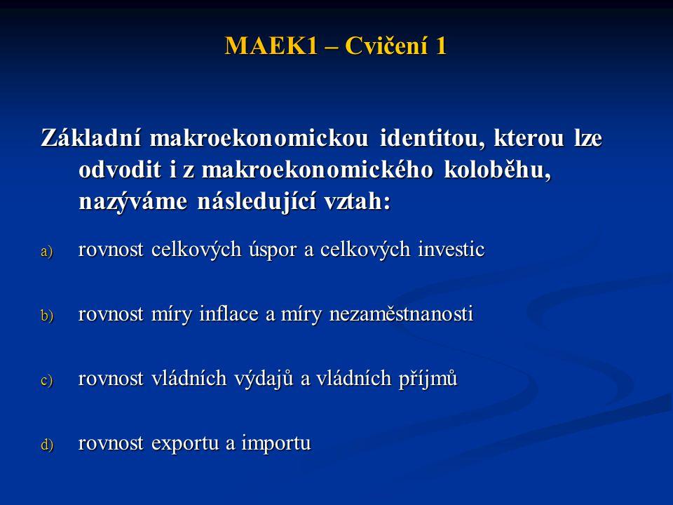 MAEK1 – Cvičení 1 Základní makroekonomickou identitou, kterou lze odvodit i z makroekonomického koloběhu, nazýváme následující vztah:
