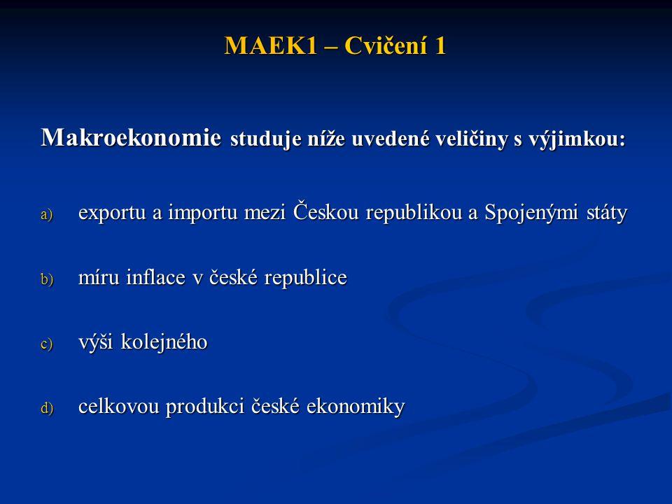 Makroekonomie studuje níže uvedené veličiny s výjimkou: