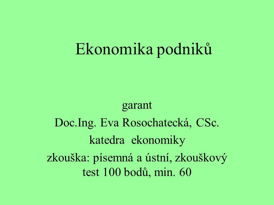 Ekonomika podniků garant Doc.Ing. Eva Rosochatecká, CSc.