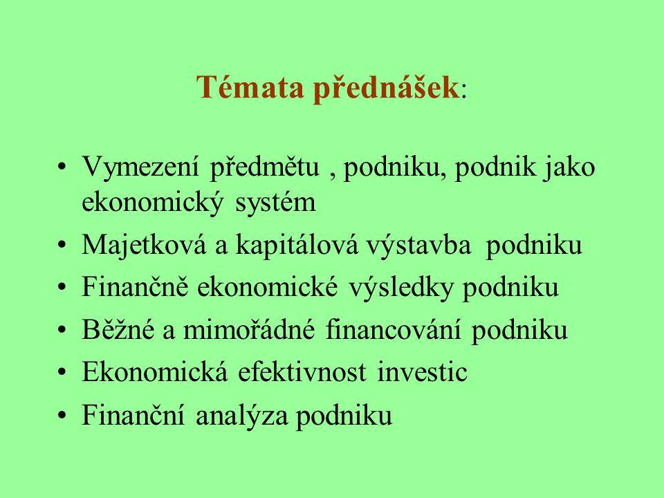 Témata přednášek: Finanční analýza podniku