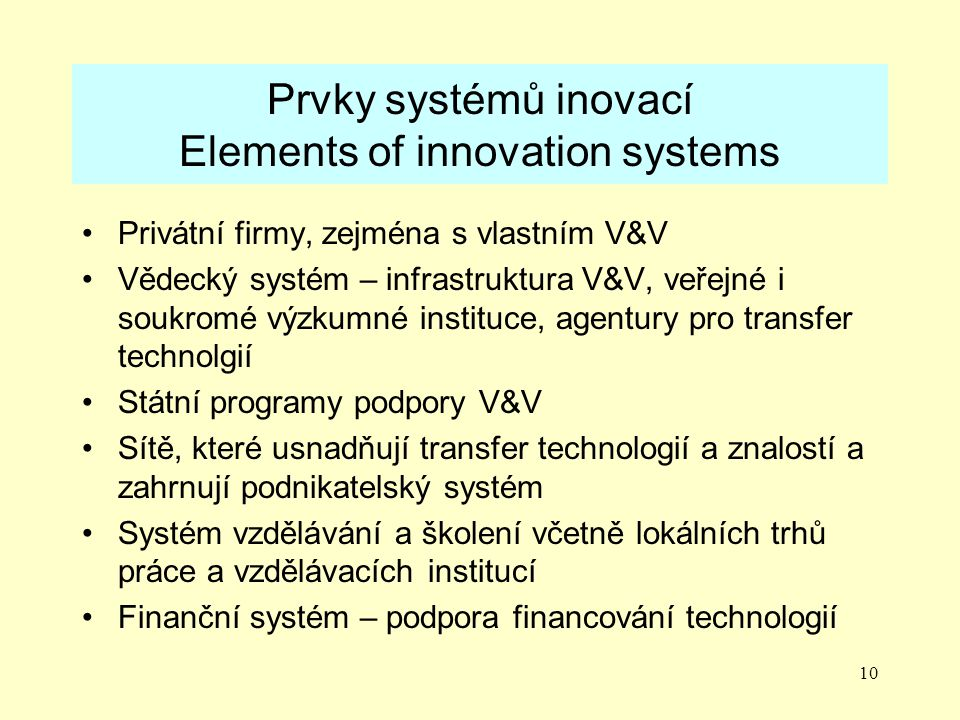 Prvky systémů inovací Elements of innovation systems
